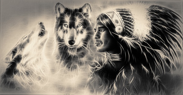 two wolves with native warrior